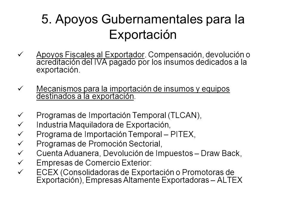 5. Apoyos Gubernamentales para la Exportación