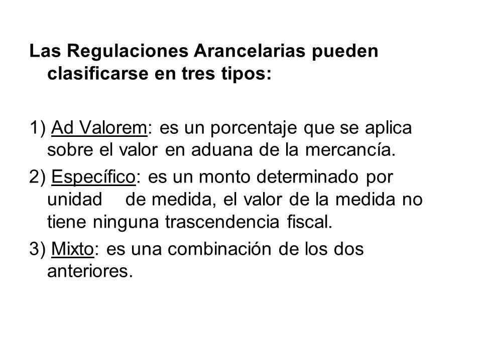 Las Regulaciones Arancelarias pueden clasificarse en tres tipos: