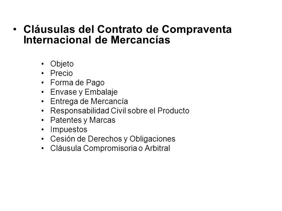 Cláusulas del Contrato de Compraventa Internacional de Mercancías