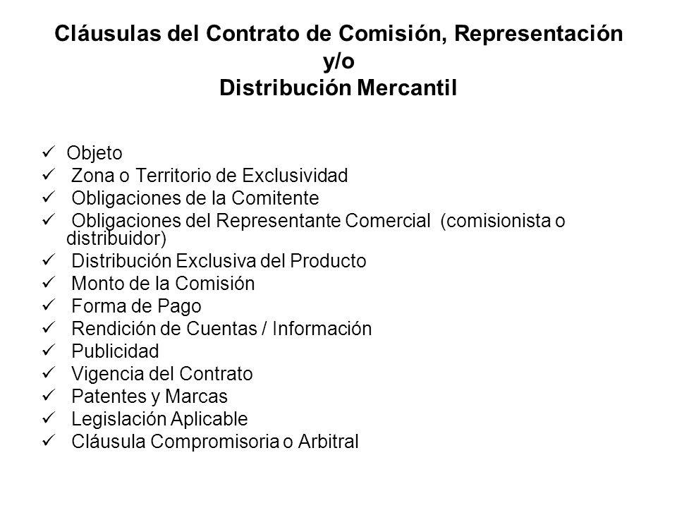 Cláusulas del Contrato de Comisión, Representación y/o Distribución Mercantil