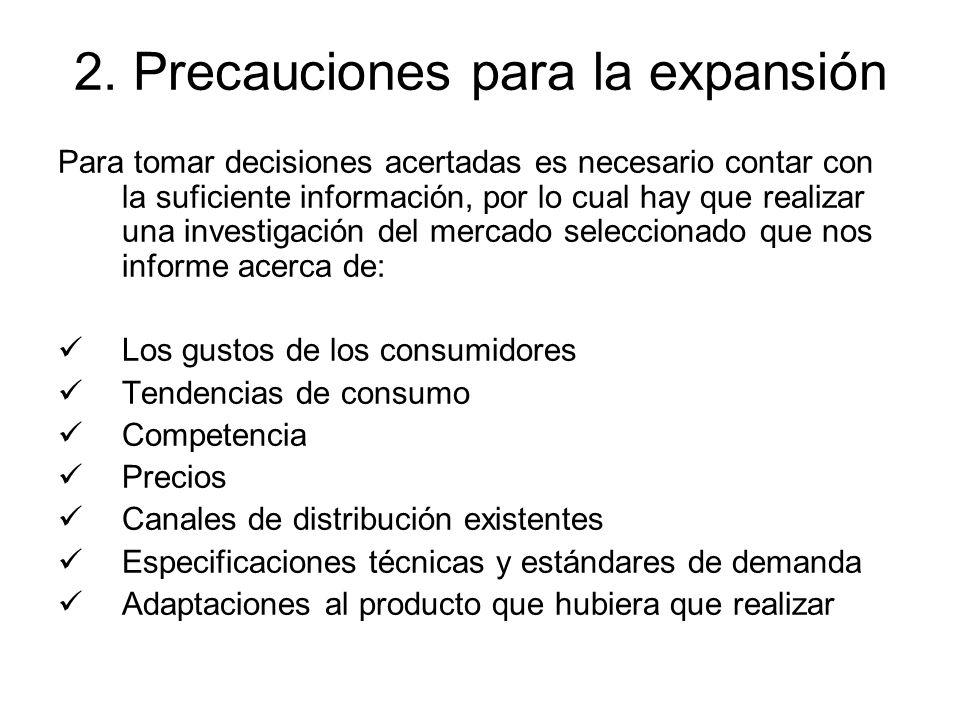 2. Precauciones para la expansión