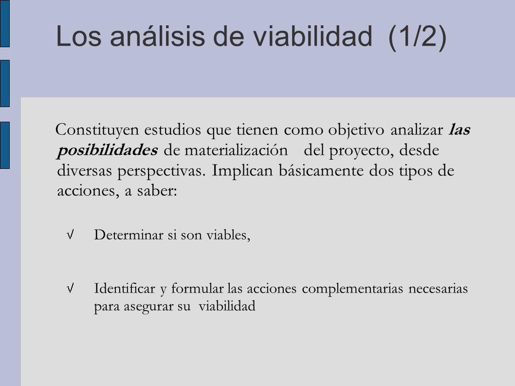 Los análisis de viabilidad (1/2)