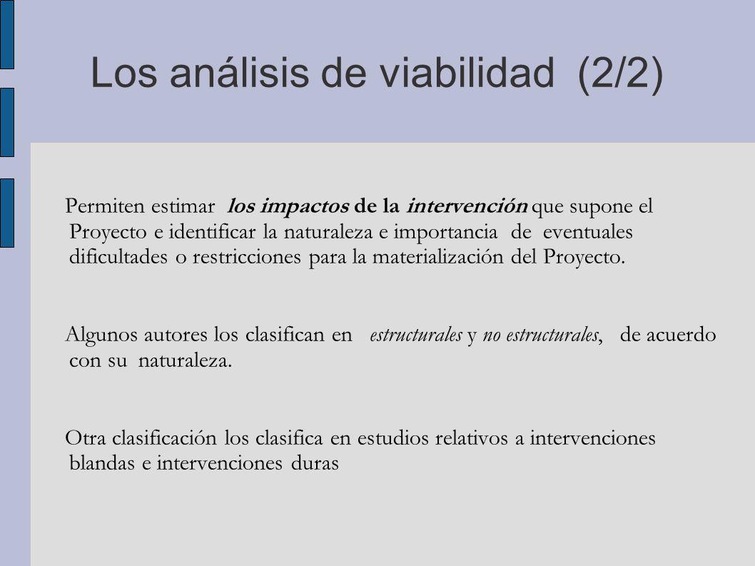 Los análisis de viabilidad (2/2)