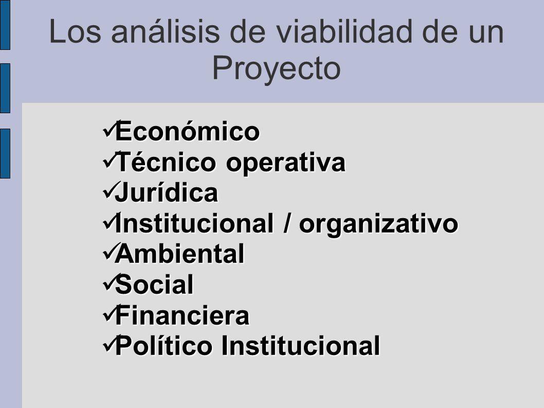 Los análisis de viabilidad de un Proyecto