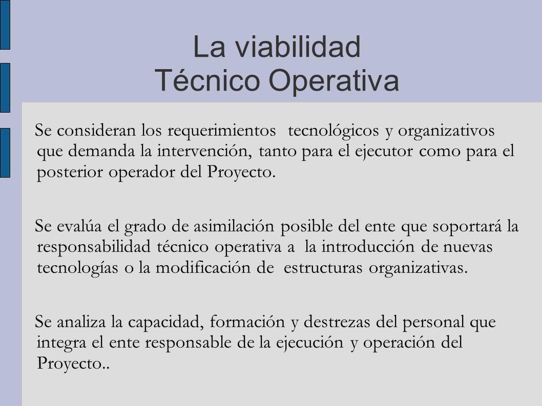 La viabilidad Técnico Operativa