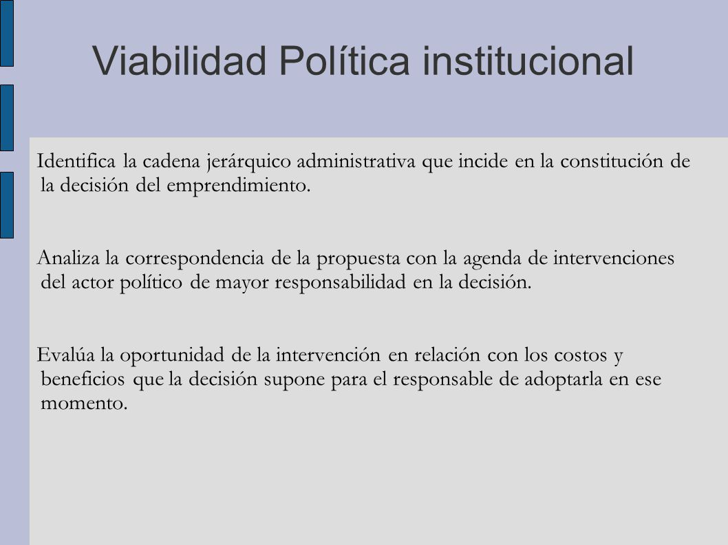 Viabilidad Política institucional