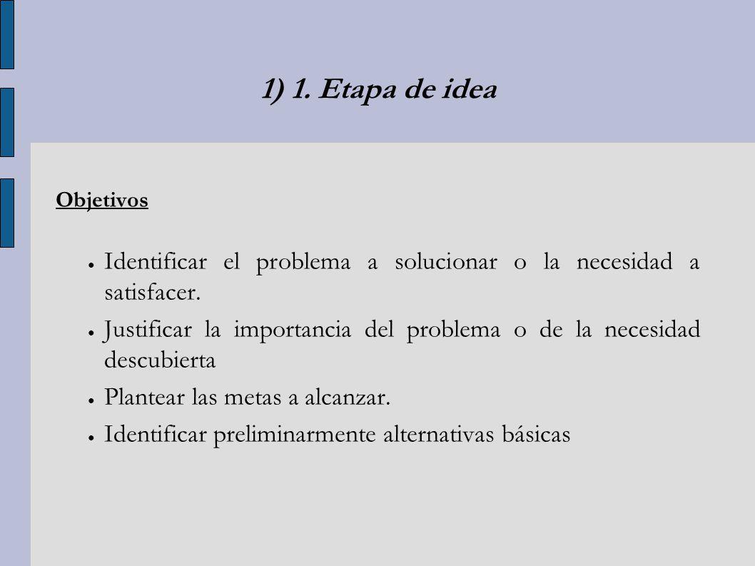 1) 1. Etapa de idea Objetivos. Identificar el problema a solucionar o la necesidad a satisfacer.