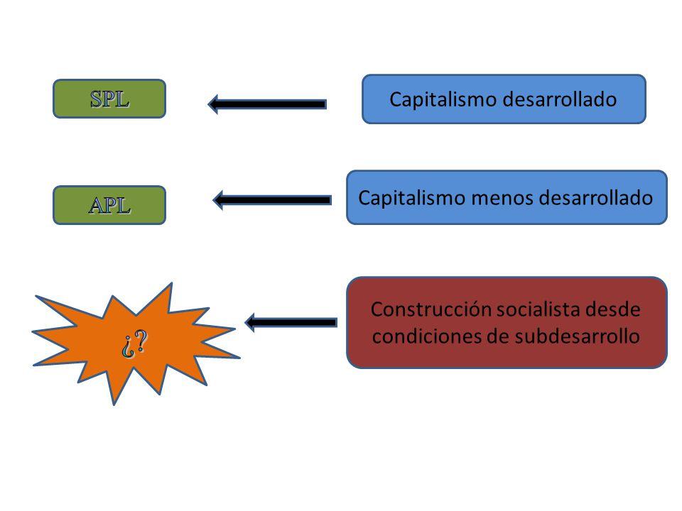 ¿ Capitalismo desarrollado SPL Capitalismo menos desarrollado APL