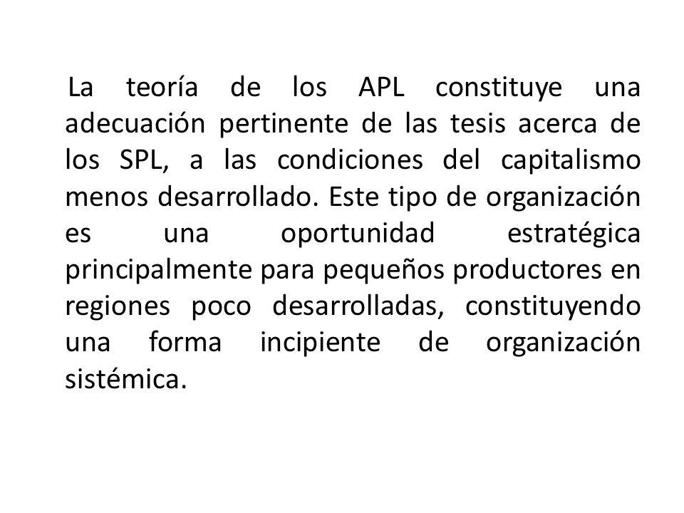 La teoría de los APL constituye una adecuación pertinente de las tesis acerca de los SPL, a las condiciones del capitalismo menos desarrollado.