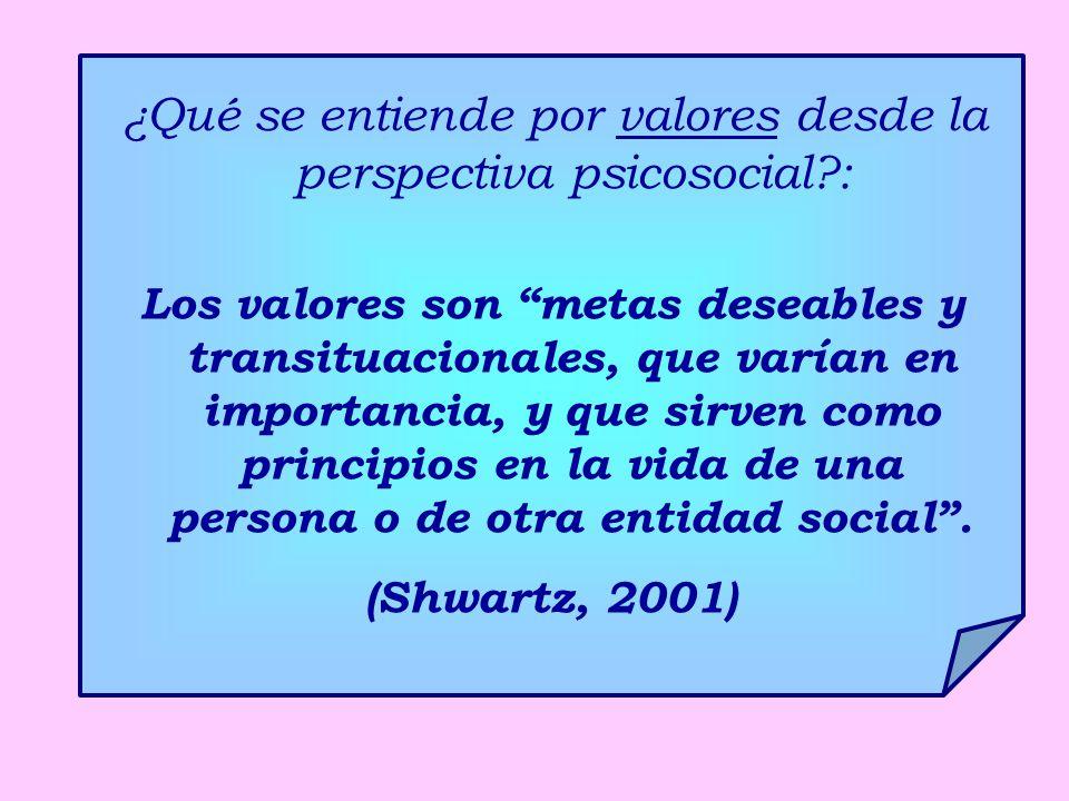 ¿Qué se entiende por valores desde la perspectiva psicosocial :