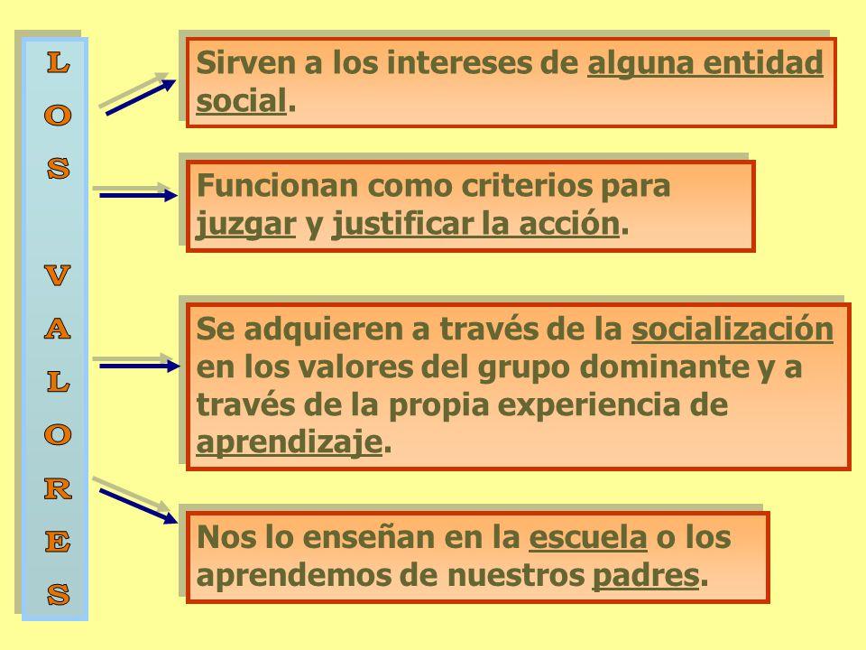 L O S V A R E Sirven a los intereses de alguna entidad social.