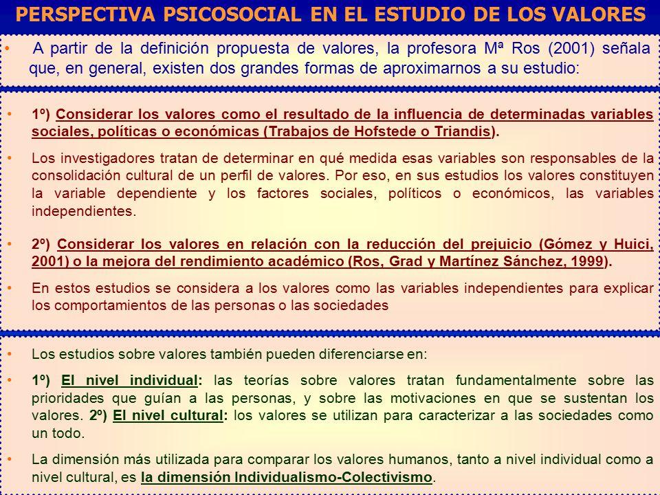 PERSPECTIVA PSICOSOCIAL EN EL ESTUDIO DE LOS VALORES