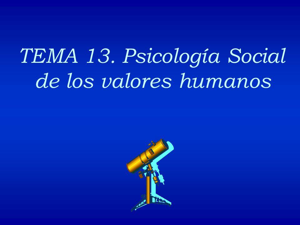 TEMA 13. Psicología Social de los valores humanos