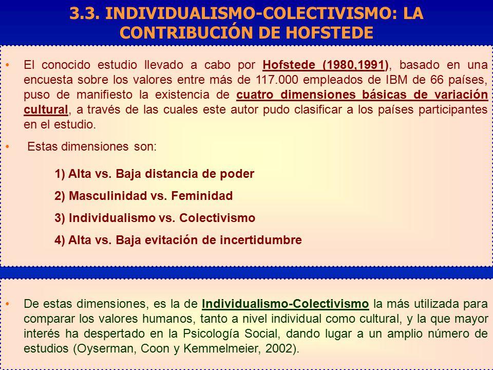 3.3. INDIVIDUALISMO-COLECTIVISMO: LA CONTRIBUCIÓN DE HOFSTEDE