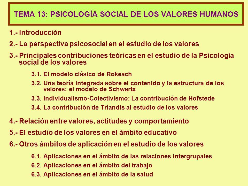 TEMA 13: PSICOLOGÍA SOCIAL DE LOS VALORES HUMANOS