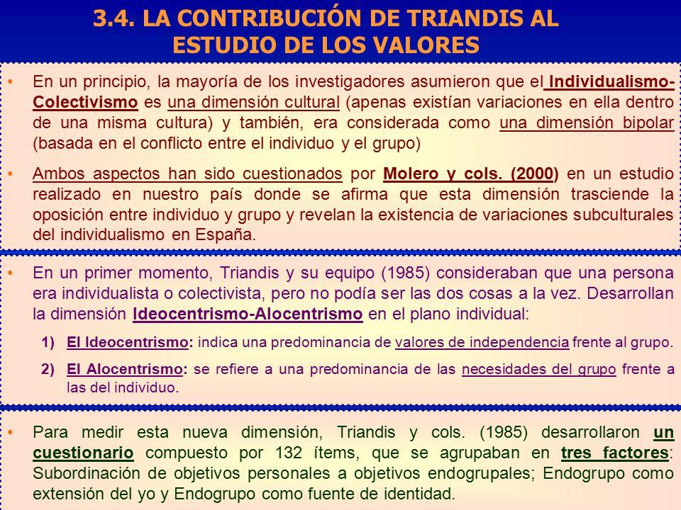 3.4. LA CONTRIBUCIÓN DE TRIANDIS AL ESTUDIO DE LOS VALORES