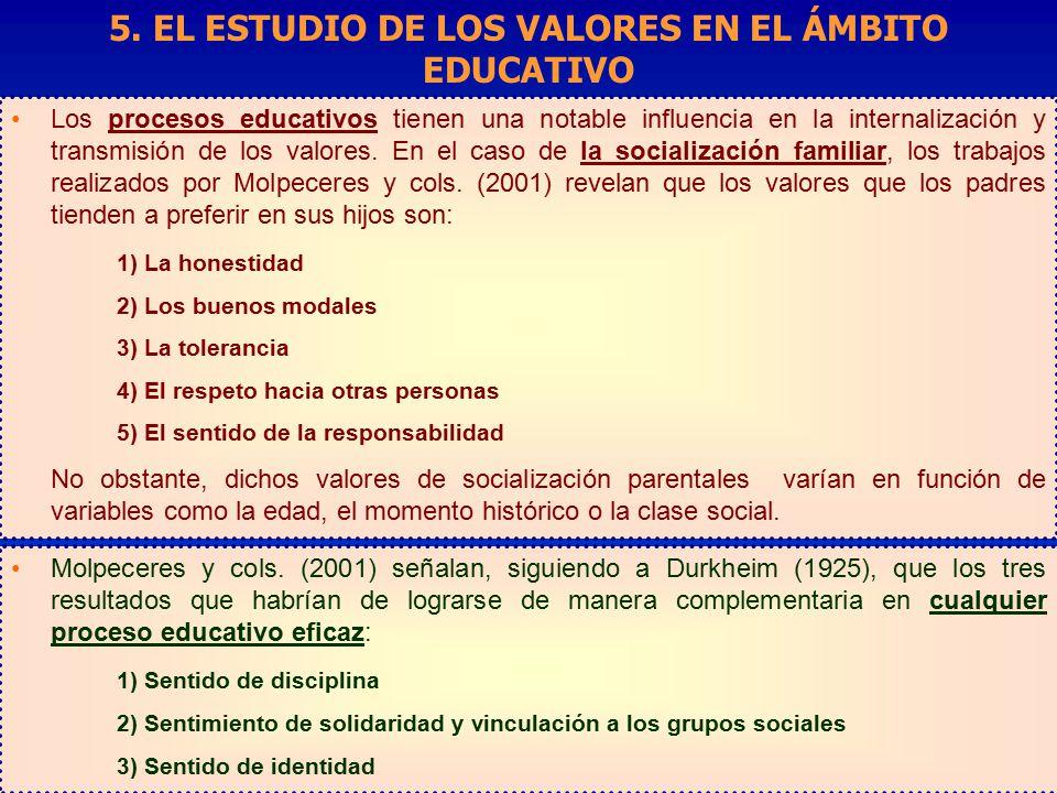 5. EL ESTUDIO DE LOS VALORES EN EL ÁMBITO EDUCATIVO