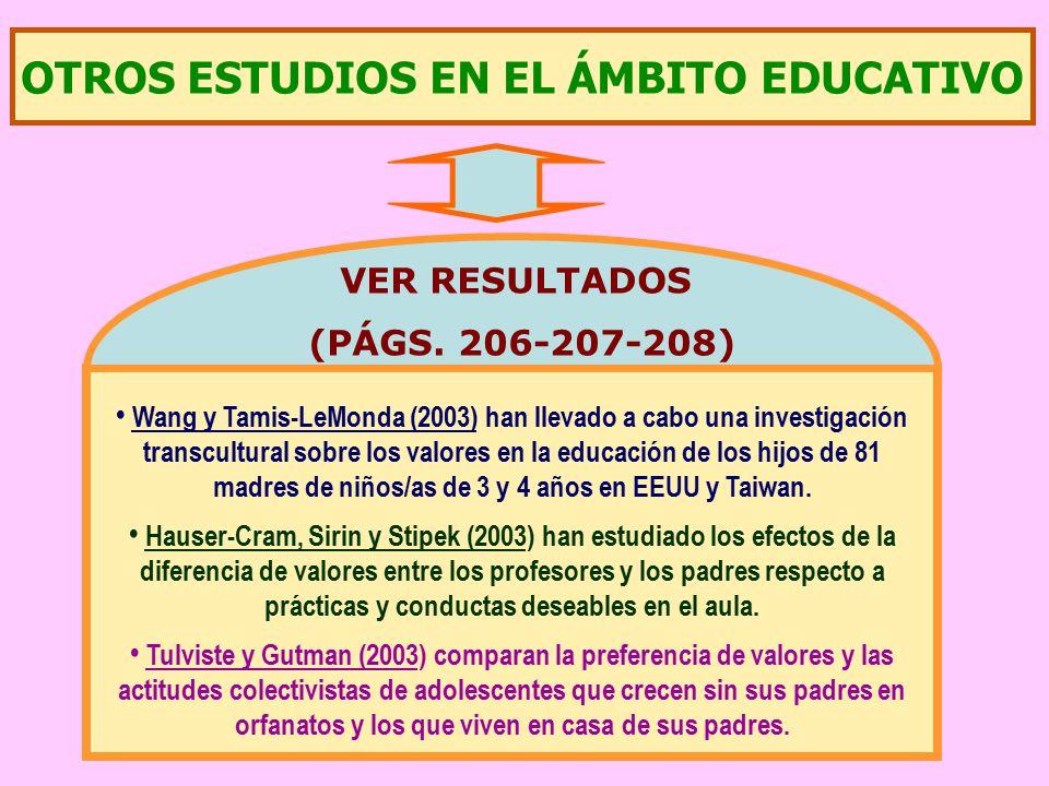 OTROS ESTUDIOS EN EL ÁMBITO EDUCATIVO