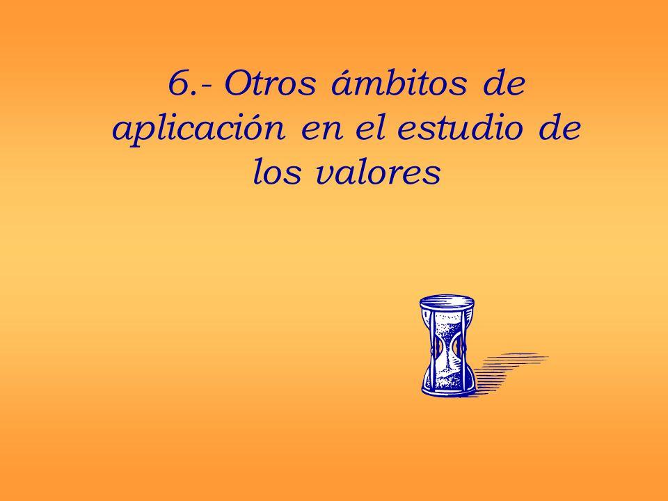 6.- Otros ámbitos de aplicación en el estudio de los valores