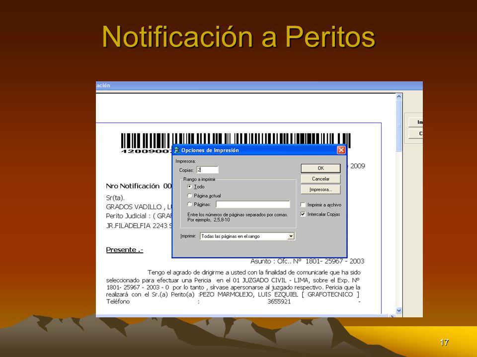 Notificación a Peritos