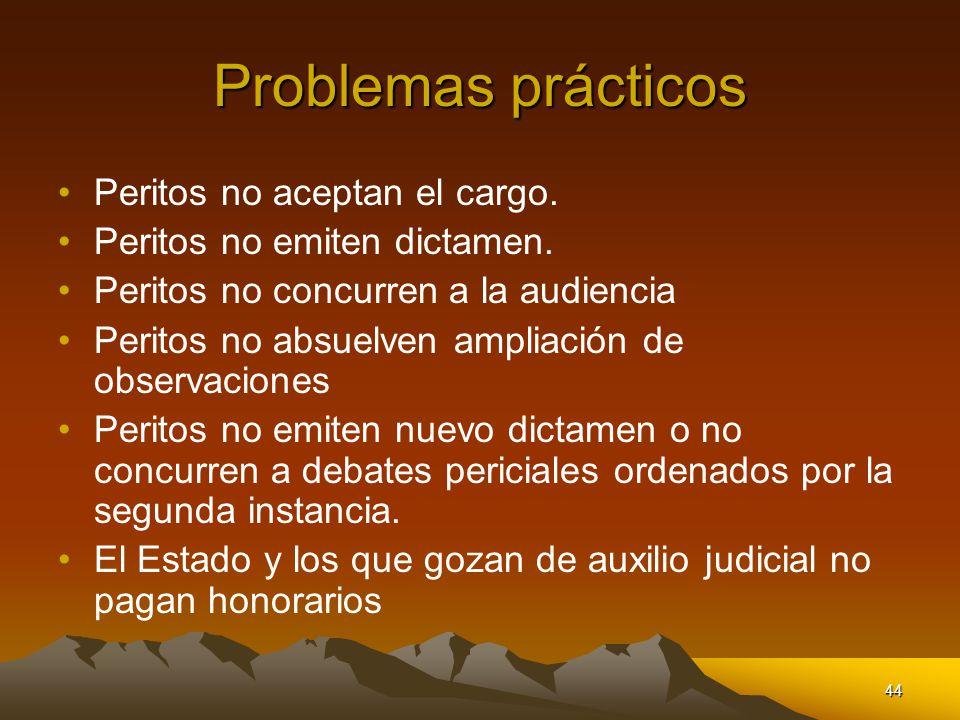 Problemas prácticos Peritos no aceptan el cargo.