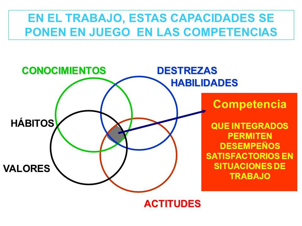 EN EL TRABAJO, ESTAS CAPACIDADES SE PONEN EN JUEGO EN LAS COMPETENCIAS