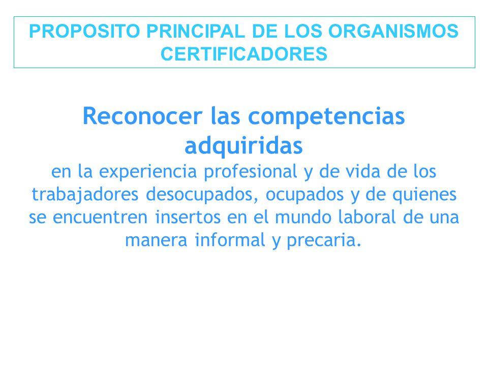 PROPOSITO PRINCIPAL DE LOS ORGANISMOS CERTIFICADORES