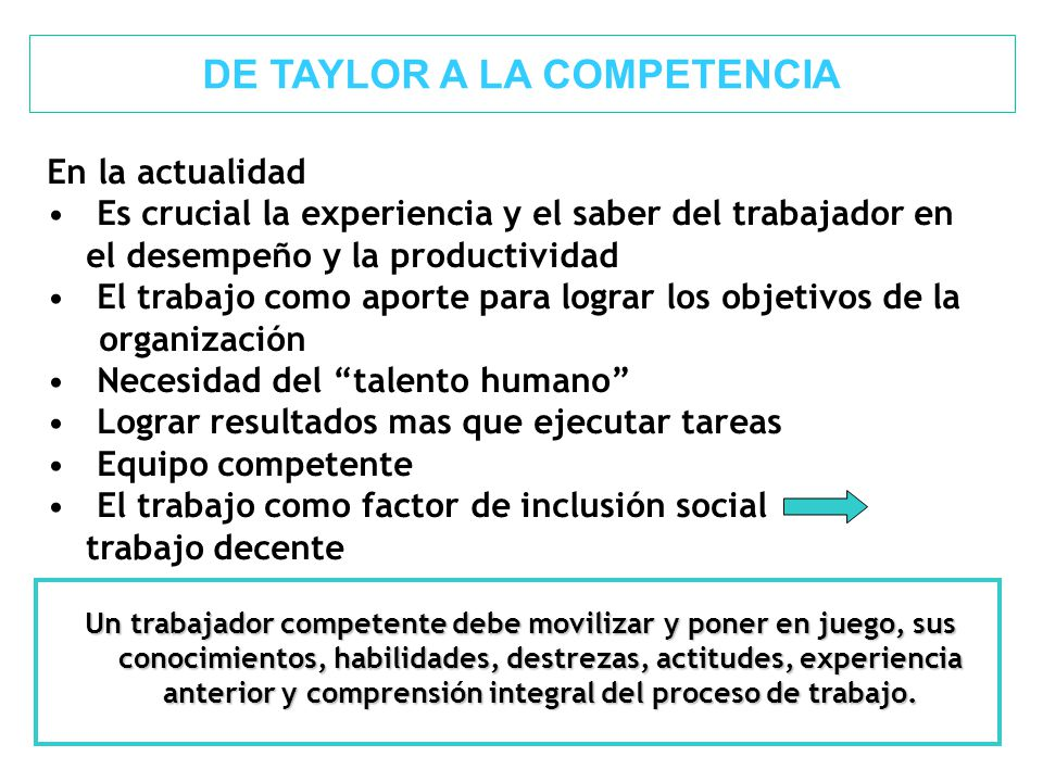 DE TAYLOR A LA COMPETENCIA