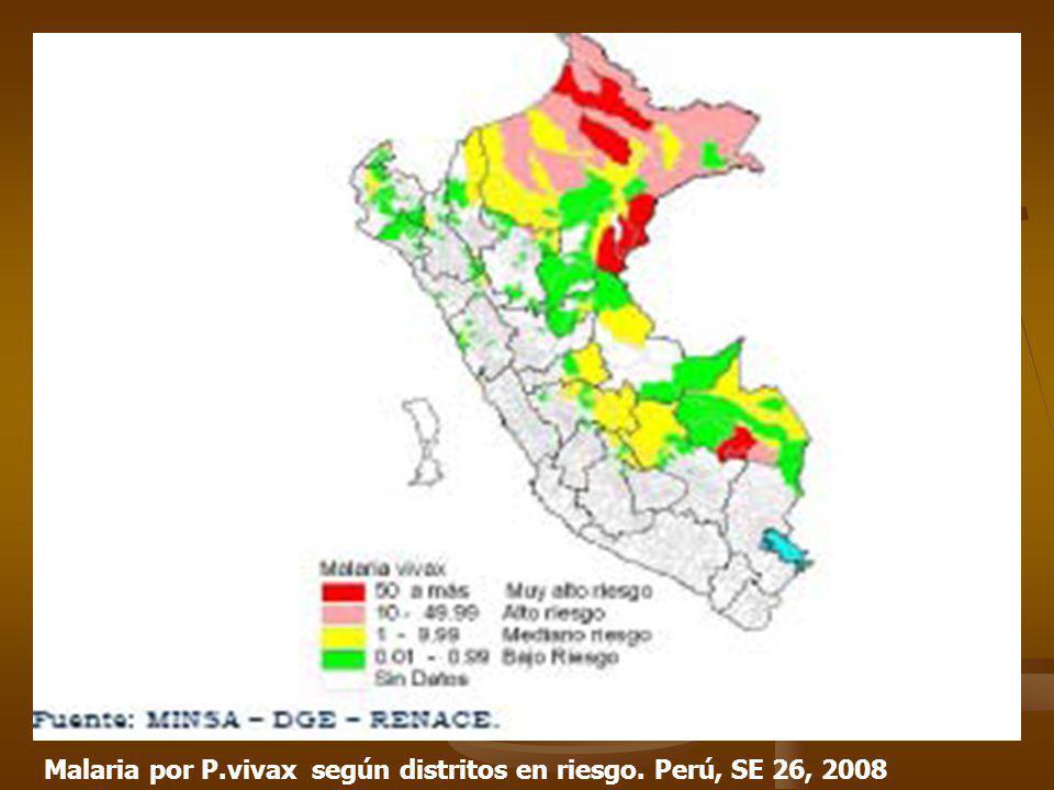 Malaria por P.vivax según distritos en riesgo. Perú, SE 26, 2008