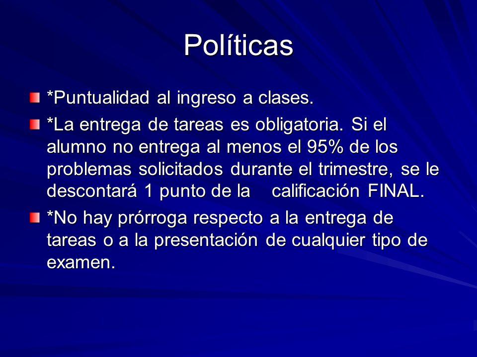 Políticas *Puntualidad al ingreso a clases.