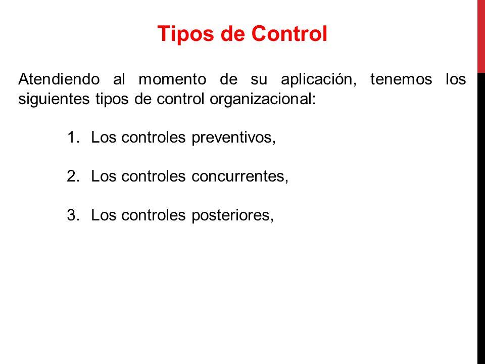 Tipos de Control Atendiendo al momento de su aplicación, tenemos los siguientes tipos de control organizacional:
