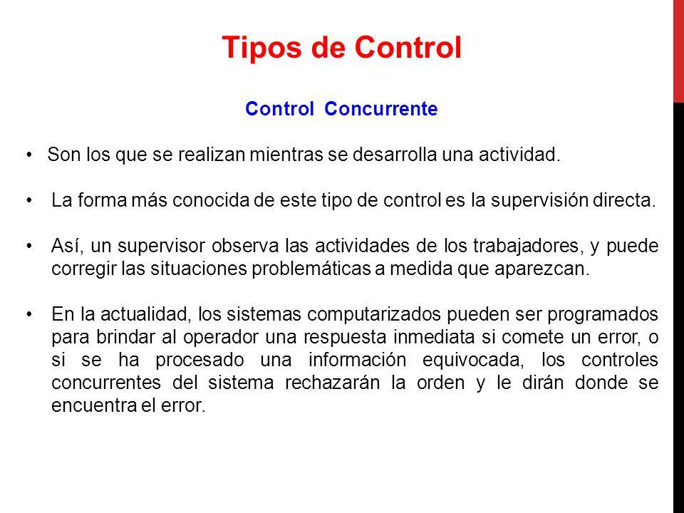 Tipos de Control Control Concurrente