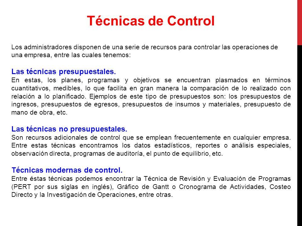 Técnicas de Control Las técnicas presupuestales.