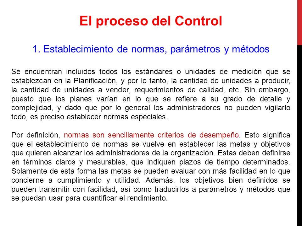 1. Establecimiento de normas, parámetros y métodos