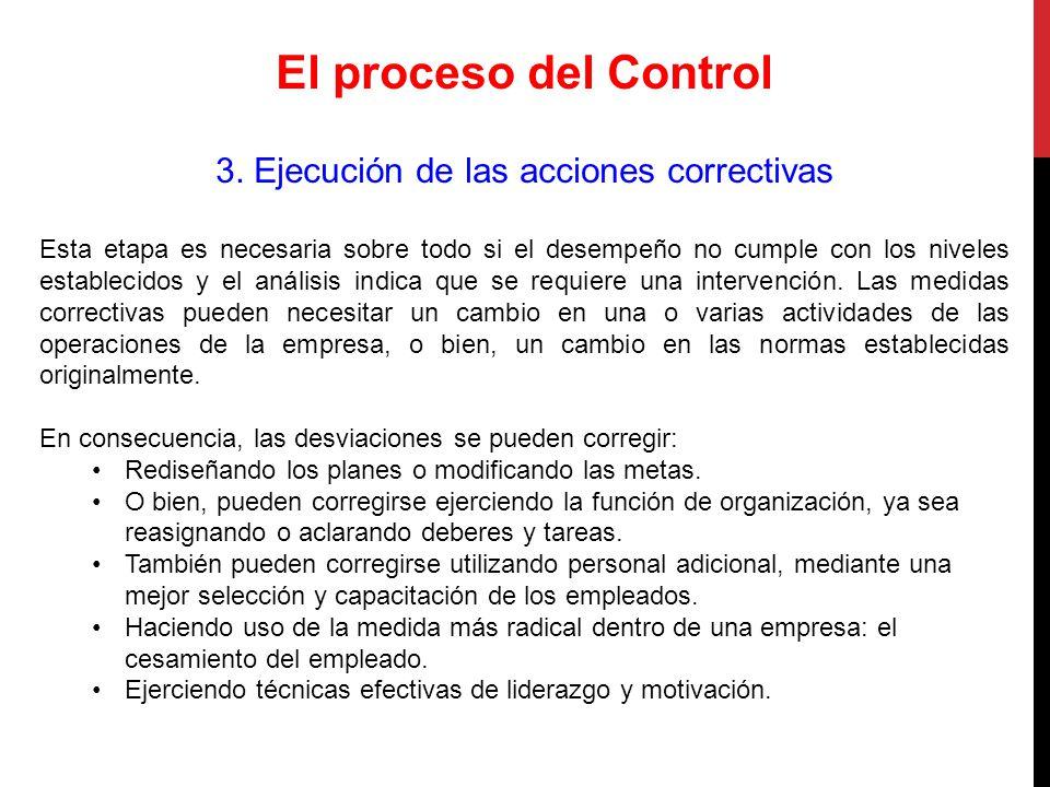 3. Ejecución de las acciones correctivas
