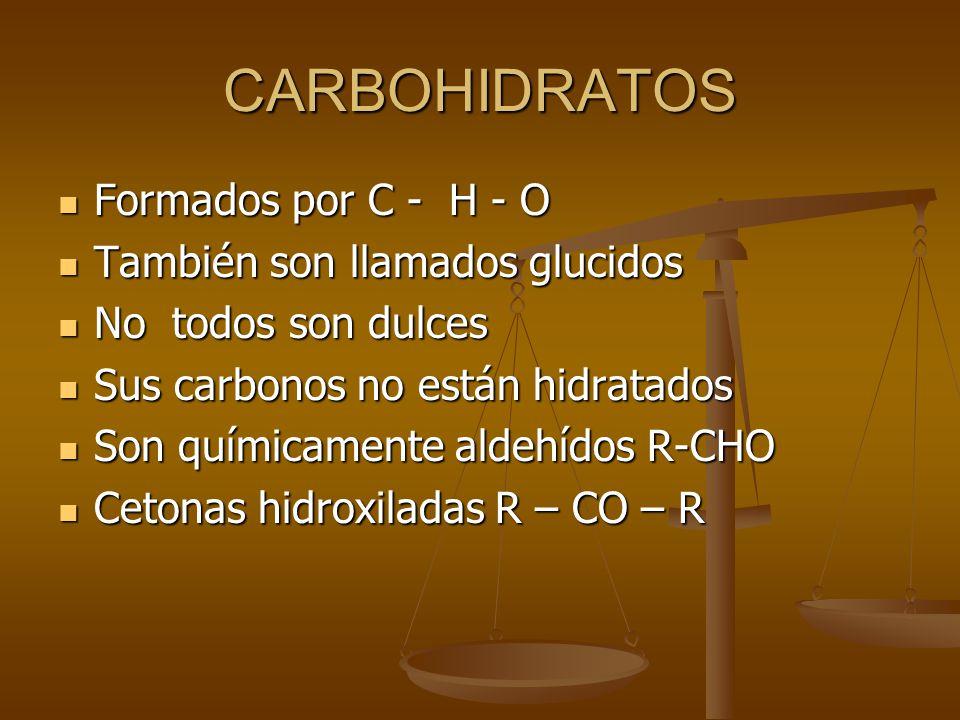 CARBOHIDRATOS Formados por C - H - O También son llamados glucidos