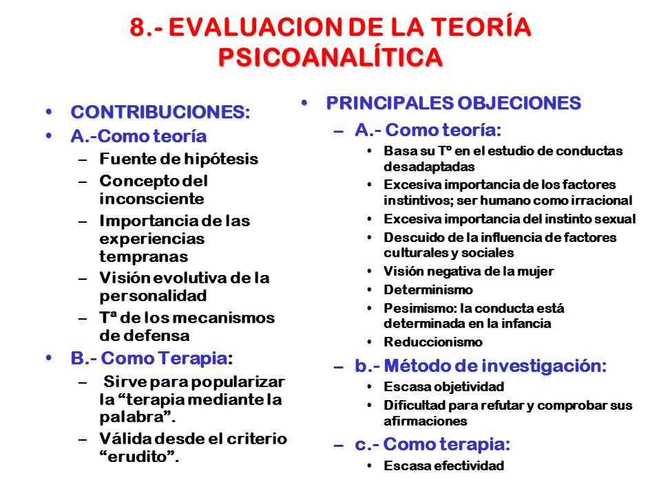 8.- EVALUACION DE LA TEORÍA PSICOANALÍTICA