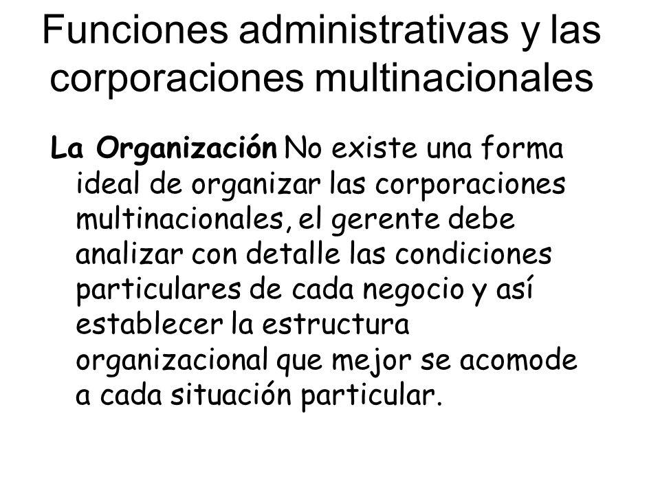 Funciones administrativas y las corporaciones multinacionales