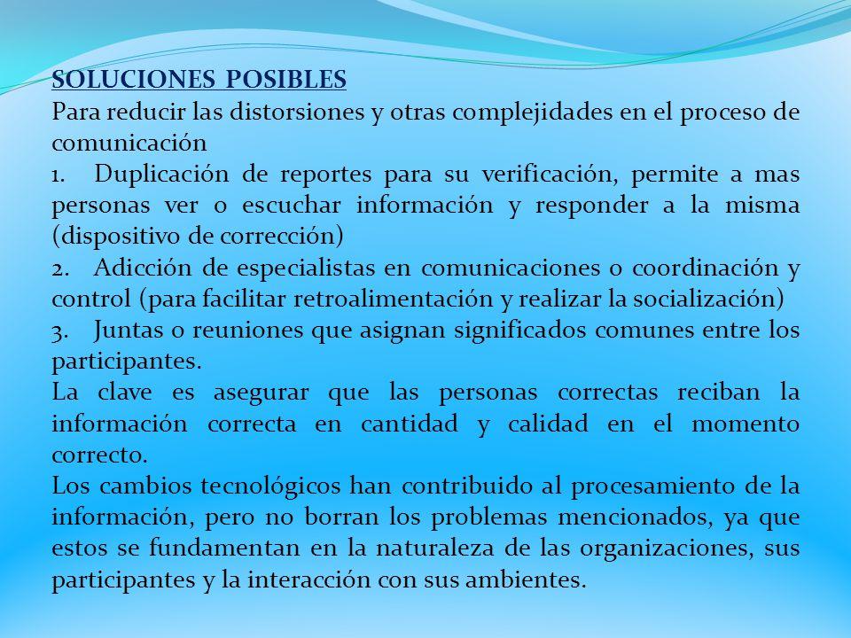SOLUCIONES POSIBLES Para reducir las distorsiones y otras complejidades en el proceso de comunicación.