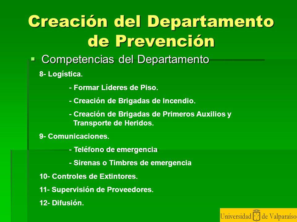 Creación del Departamento de Prevención
