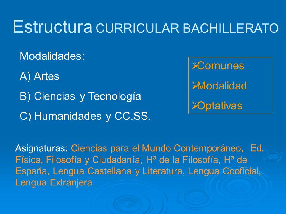 Estructura CURRICULAR BACHILLERATO