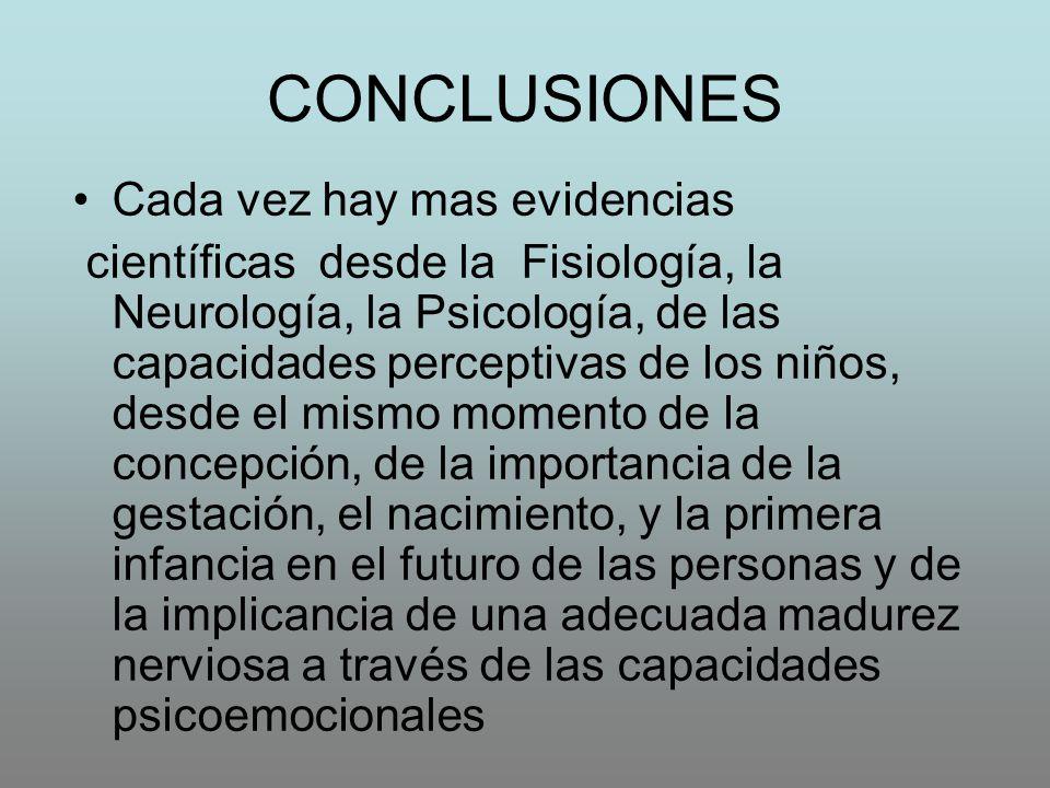 CONCLUSIONES Cada vez hay mas evidencias