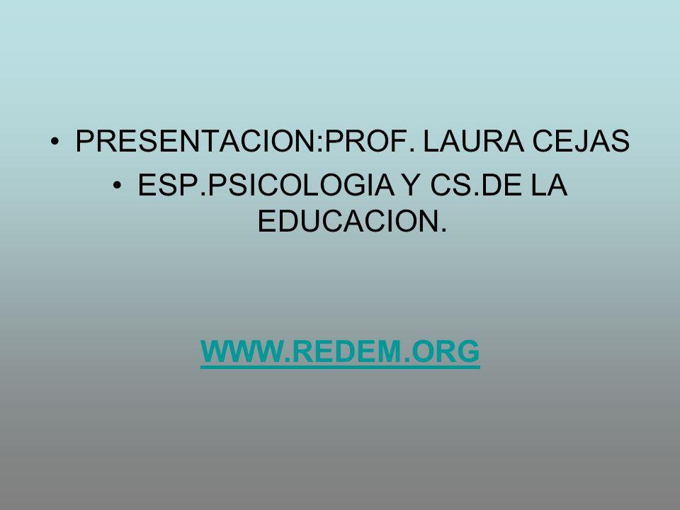 PRESENTACION:PROF. LAURA CEJAS ESP.PSICOLOGIA Y CS.DE LA EDUCACION.