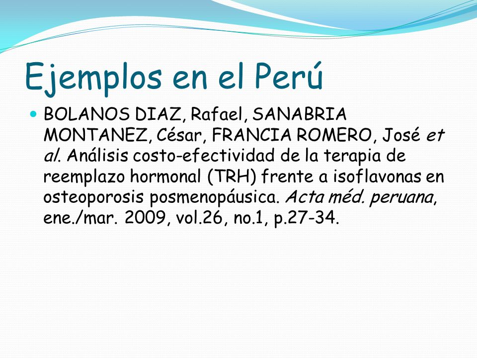 Ejemplos en el Perú