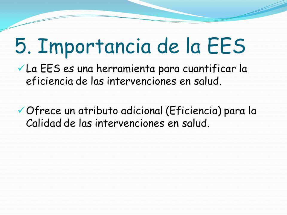 5. Importancia de la EES La EES es una herramienta para cuantificar la eficiencia de las intervenciones en salud.