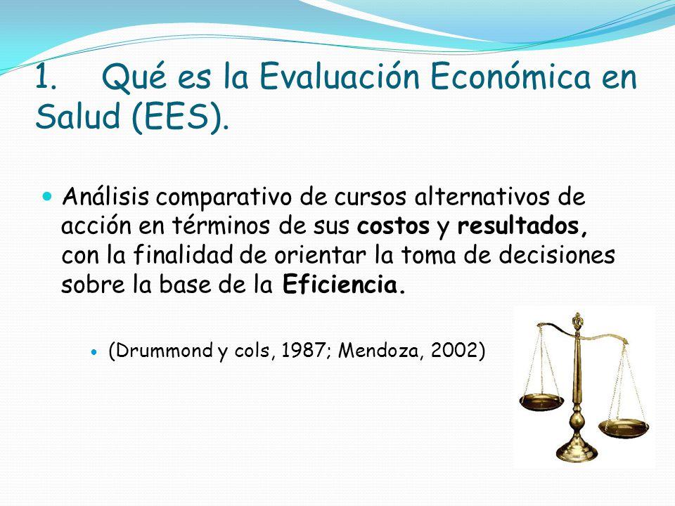 1. Qué es la Evaluación Económica en Salud (EES).