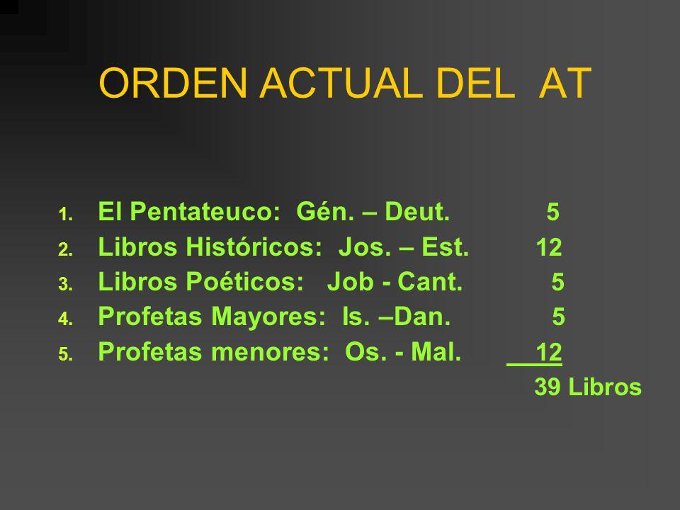 ORDEN ACTUAL DEL AT El Pentateuco: Gén. – Deut. 5