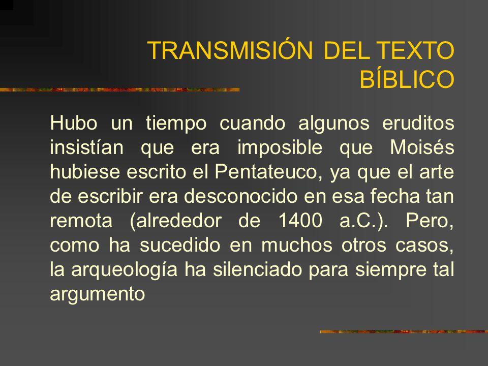 TRANSMISIÓN DEL TEXTO BÍBLICO