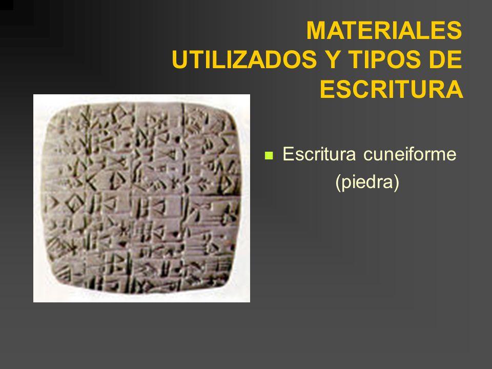MATERIALES UTILIZADOS Y TIPOS DE ESCRITURA