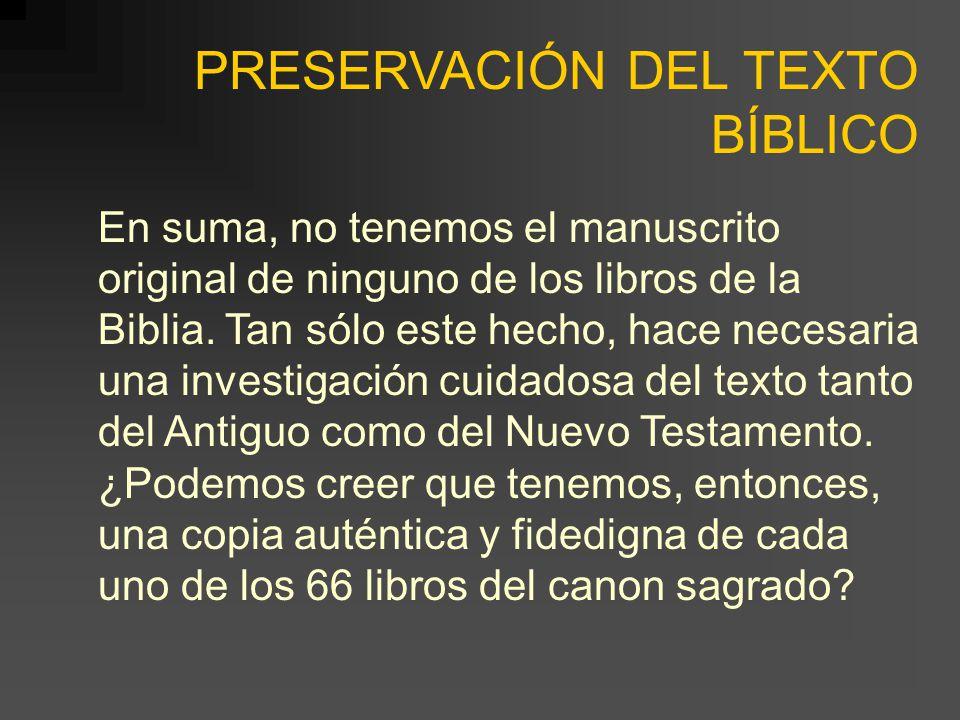 PRESERVACIÓN DEL TEXTO BÍBLICO